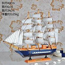 Decoratee Mittelmeer Segeln Modell Eingang Wein Dekoration ist alles glatt geht. Schlafzimmer Heimtextilien Persönlichkeit, 40 cm Dunkelblau Segelschiff