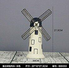 Decorationbd Europäischen Kreativen Harz Dekoration Holland Windmühle Modell Heimtextilien Schmuck retro Kleines Schlafzimmer Wohnzimmer Dekorationen, Harz Mühle - Beige