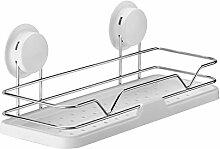 Decorative frame-1 CGN Badezimmer-Badezimmer-freie bohrende Wand-Regal-Saug-Wand-Lager-Zahnstange Multifunktion (Farbe : Silber)