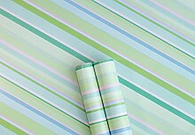 Decorato Green Stripe Sticky Back Kunststoff Film PVC-Tapete selbstklebend Fablon Klebefolie