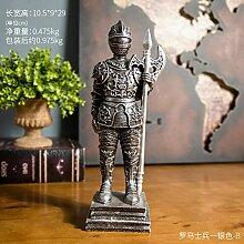 Decoresd American Retro Heimtextilien Dekoration Wohnzimmer Wein Rom Soldaten Handwerk Dekoration Golden-D, Silber - B