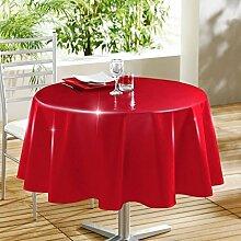 Decorline 160cm PVC LAQUEE Unie glänzend Tischdecke, Rouge Ro