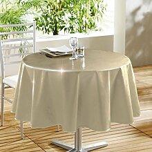 Decorline Laquee Unie glänzende Tischdecke aus PVC, 160cm, beige