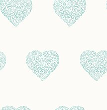 Decorline Tapete, Herzen blau