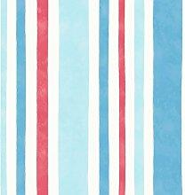 Decorline Tapete Karussell, breite Streifen blau/ro