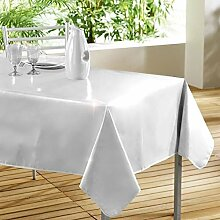 DecorLine Tischdecke, PVC/Polypropylen/Polyester, weiß, 140 x 240 cm