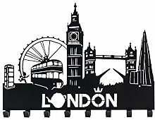 decorwelt Garderobenhaken London Schwarz 30 cm