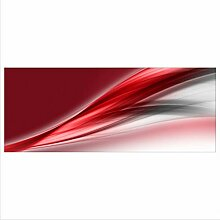 decorwelt Glasbild 125x50 XL Abstrakt Rot Panorama