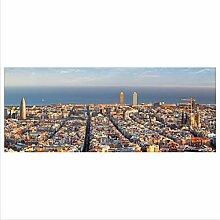 decorwelt Glasbild 125x50 XL Barcelona Bunt