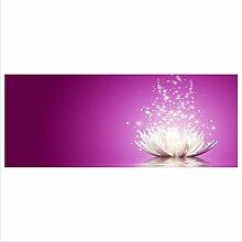 decorwelt Glasbild 125x50 XL Blume Pink Panorama