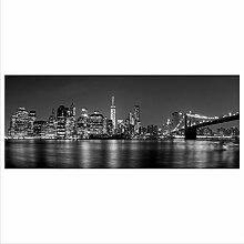 decorwelt Glasbild 125x50 XL New York Schwarz