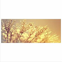 decorwelt Glasbild 125x50 XL Pusteblume Gelb
