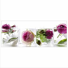 decorwelt Glasbild 125x50 XL Rose Pink Panorama