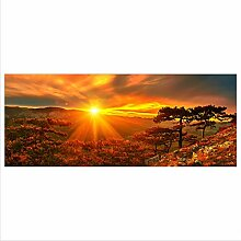 decorwelt Glasbild 125x50 XL Sonnenuntergang