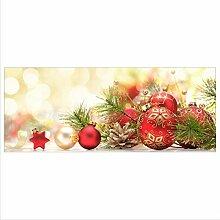 decorwelt Glasbild 125x50 XL Weihnachten Rot