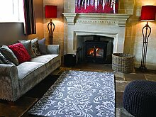 Decotex Kunstvoller Moderne Qualität Soft Cut & Loop Design grau Teppich in 2Größen, grau, 120 x 170 cm (4' x 5'6'')