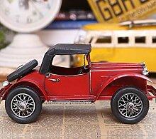 Decoured Europäische und Amerikanische Vintage Schmiedeeisen Auto Modell Heimtextilien Oldtimer Kinderzimmer Dekoration Dekoration Persönlichkeit Gelb Retro Auto, rot Retro Auto 140012
