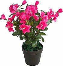 Decovego Azalee Rhododendron Topfpflanze Künstliche Pflanze Kunstpflanze 35 cm Pink Rosa Dekoration