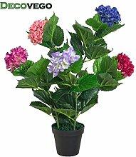 Decovego Künstliche Hortensie Hydrangeaceae Kunstpflanze Pflanze Mehrfarbig Bunt mit Topf 60cm