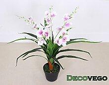 Decovego Künstliche Orchidee Kunstpflanze Pflanze Weiss Weiß mit Topf 80cm