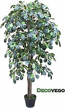 Decovego Kunstpflanze Künstliche Pflanze Kunstlicher Baum Kunstbaum mit Echtholz 125cm