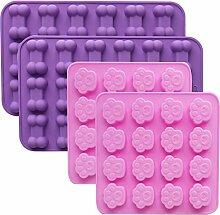 Defrsk 4 Pack Silikon Eisform Tabletts mit