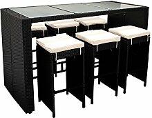 DEGAMO Barset DAVOS 13-teilig, 6x Barhocker, 1x Bartisch 185x80x110cm, 6x Polster. Rattan schwarz