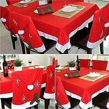 DegGod Weihnachtsdeko 6 Stück Weihnachts Stuhlhusse Weihnachtsmütze mit einem Stück Weihnachten Tischtuch Deko Tischdecke Rot Geschenk (Tischdecke & Stuhlhussen)
