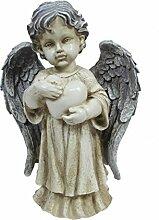 Dehner Dekofigur Engel mit Herz, ca. 33 x 23 x 11.5 cm, Polyresin, grau