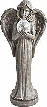 Dehner Dekofigur Engel mit Kugel, ca. 61 x 27.5 x 19 cm, Kunststoff, beige/grau