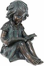 Dehner Dekofigur Mädchen mit Buch, ca. 45.5 x 28.5 x 41.5 cm, Kunststoff, bronzefarben