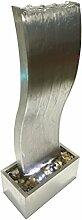 Dehner Gartenbrunnen Curve mit LED Beleuchtung, ca. 108 x 44.5 x 23.5 cm, Edelstahl, silber