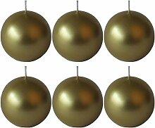 Dehner Kugelkerzen, 6 Stück, Ø 7 cm, gold