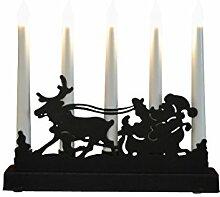 Dehner LED Rentier Metallständer mit Kerzen , 5 LED, 32 cm ,warmweiß
