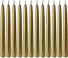 Dehner Spitzkerzen, 12 Stück, Ø 2.4 cm, Höhe 24 cm, gold