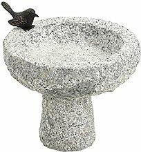 Dehner Vogeltränke mit Vogel, Ø ca. 30 cm, Höhe ca. 30 cm, Granit/Bronze, grau