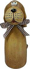 Dehner Zaunfigur Hund , 4 Stück, je ca. 21 x 10 x 8 cm, Polyresin, braun