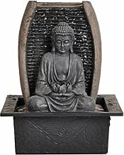 Dehner Zimmerbrunnen Zen-Buddha mit LED Beleuchtung, ca. 26 x 18 x 21 cm, Polyresin, grau