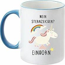 Deine Tasse - Mein Sternzeichen Einhorn - Kaffeetasse - Teetasse - Becher - Freundin - Schatz -Schwester - Mama (Hellblau)