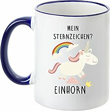 Deine Tasse - Mein Sternzeichen Einhorn - Kaffeetasse - Teetasse - Becher - Freundin - Schatz -Schwester - Mama (Dunkelblau)