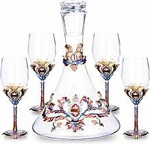 Dekanter Kristall Glas Weintrenner Becher