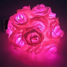 dekawei 30LEDs Rose Blumen Lichterkette lila Hochzeit Dekorationen Lichter für Chritsmas Hochzeit Halloween Terrasse Party Lichterkette rose