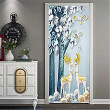 Deko Aufkleber Hirsch 3D Tür Aufkleber Wallpaper