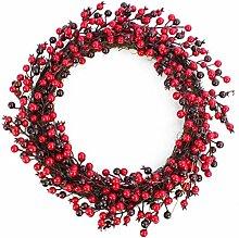 Deko Beerenkranz mit roten Aufhänge Band, rot-weinrot, Ø 45 cm - Künstlicher Kranz / Türkranz - artplants
