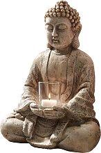 Deko-Buddha mit Windlicht, grau