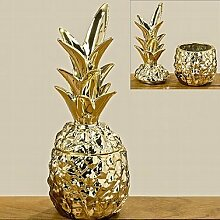 Deko-Dose Ananas H26cm gold Dolomi