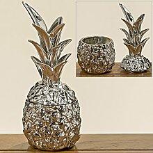 Deko Dose Ananas silber H24cm