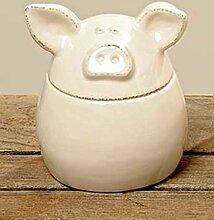 Deko-Dose Piggy mit Deckel Dolomit cremefarben H