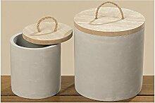 Deko-Dose Zalo 2tlg S/2 Material: Beton