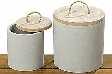 Deko-Dose Zalo S/2 H12-14cm Material: Beton